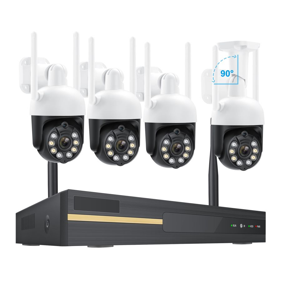 Wireless wifi 1080p night vision recording alarm kit nvr manufacturers hd 2mp  4 chanal home ip camera security cctv system
