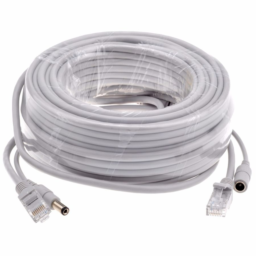 20M Optional Gray CAT5/CAT-5e Ethernet Cable RJ45 + DC Power CCTV Network Lan Cable For System IP Cameras