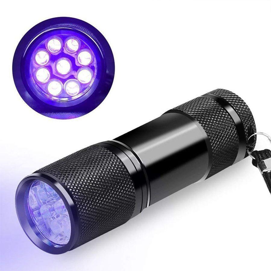 9 Led Mini Torch Uv Light Ultra Violet LEDS Pocket Flashlight Lamp Black Blacklight