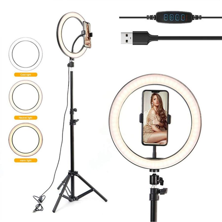 10 inch Led Selfie Ring light phone Holder Live photography Makeup beauty Fill Ring Light With Tripod Stand