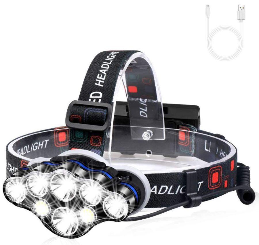 Most Powerful Aluminium led Headlamp Flashlight, Waterproof 13000 Lumen High Power USB Rechargeable Headlamp