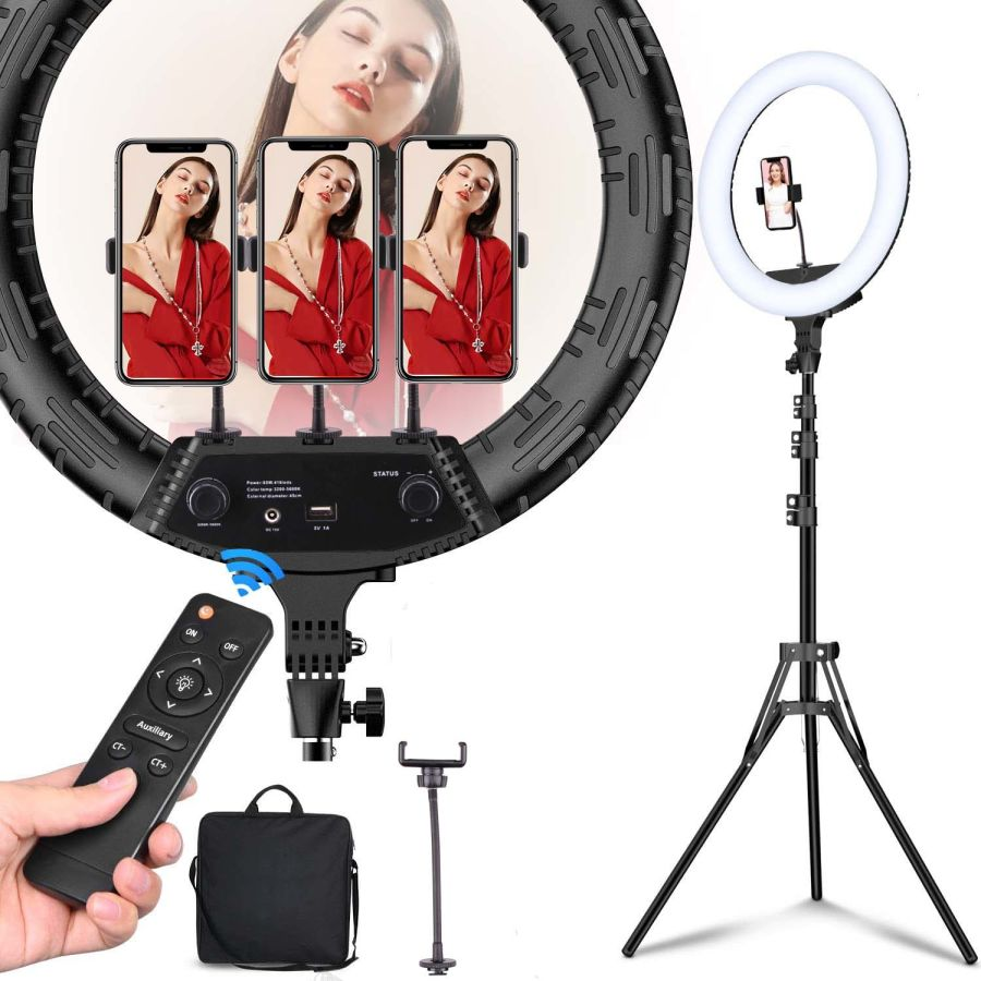 18 inch LED Ring Light with 2M Tripod Stand Cell Phone Holder for Live Stream/Makeup/YouTube Video, Dimmable Beauty Ringlight