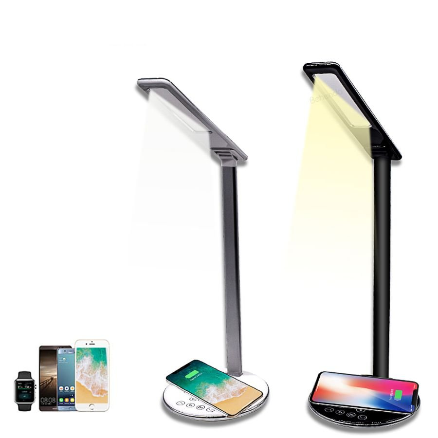 2 in 1 folding fast charging LED desk lamp with wireless charger eye protection for iphone for sunsung for android