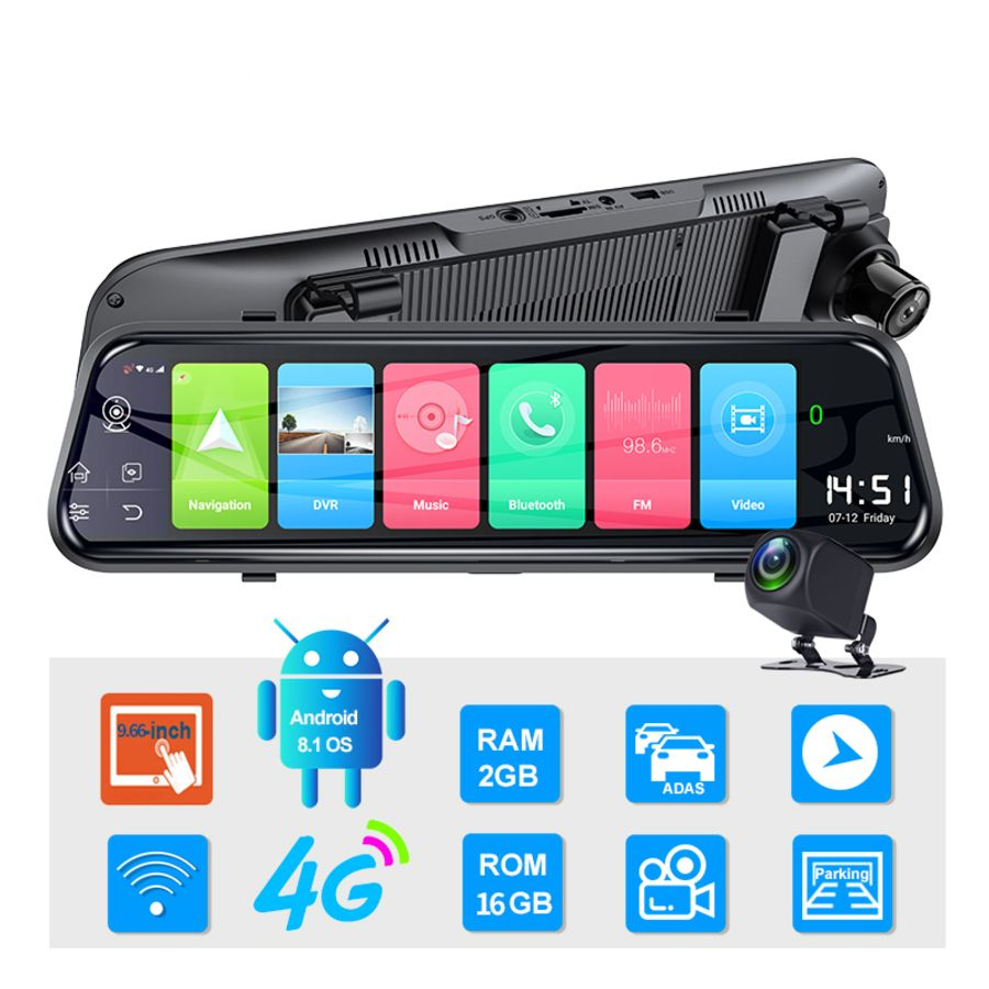 10 inch Car Dash Camera Dvr Rearview Mirror 4g Gps Navigation Adas Android 8.1 Cam  Wifi Dual Lens Video Recorder
