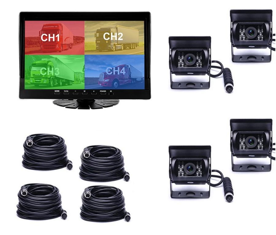 10 Inch Monitor Front+ Rear View 1080P Vehicle Bus Truck Lorry Dash Camera Recorder Reverse Parking