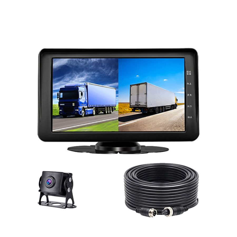 7 Inch Monitor Front+ Rear View 1080P Vehicle Bus Truck Lorry Dash Camera Recorder Reverse Parking