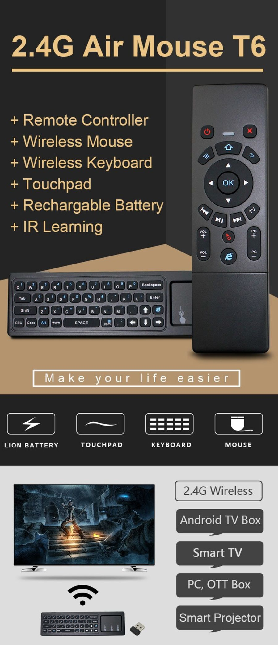 Mini Wireless Keyboard & Touchpad Trackpad 2 4G Fly Air Mouse