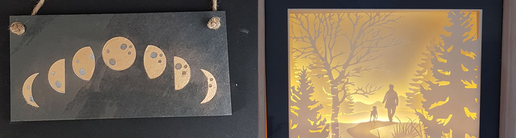 Gilded Slate and Lit Papercut
