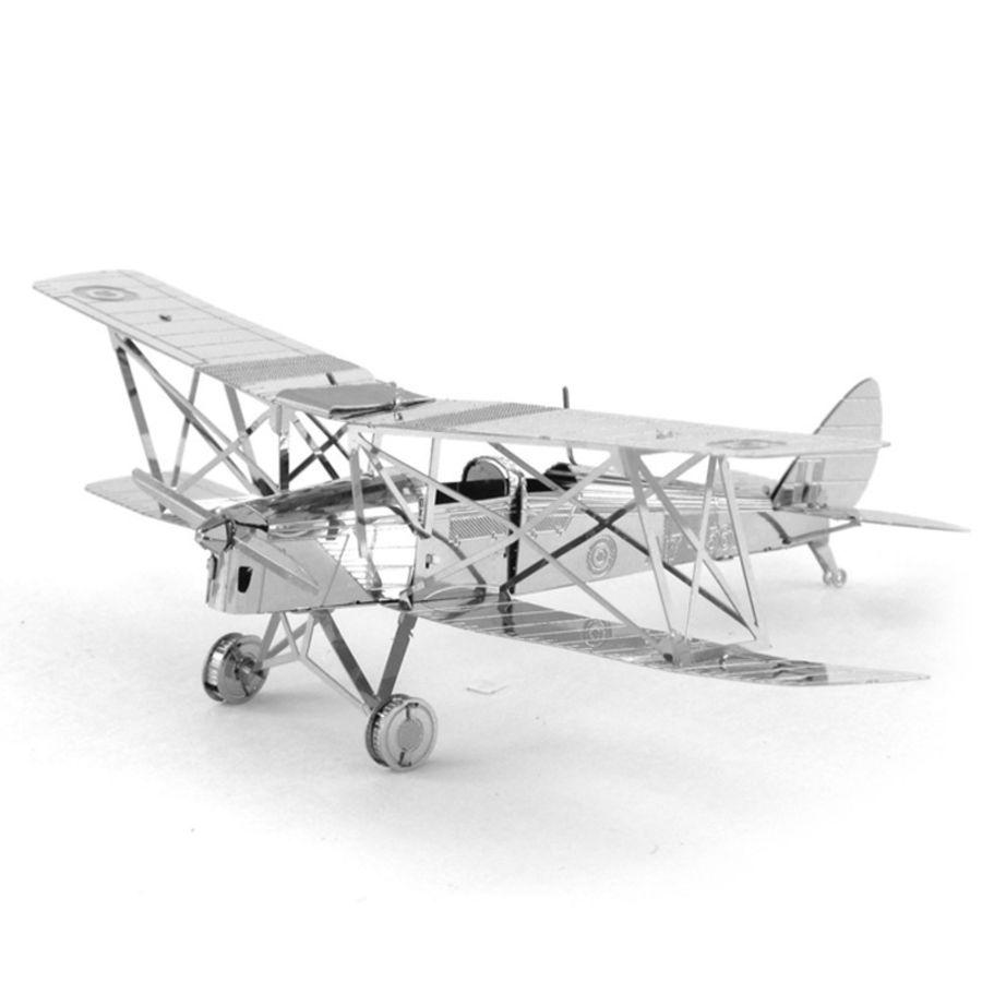 Tiger Moth Bi-Plane Metal Earth Model 3D Puzzle Kit Mens Gadget Gift Nano