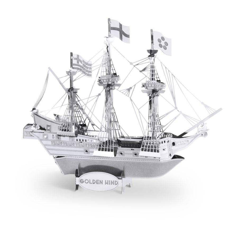 Golden Hind Ship Boat Metal Earth Model 3D Puzzle Kit Mens Gadget Gift Nano