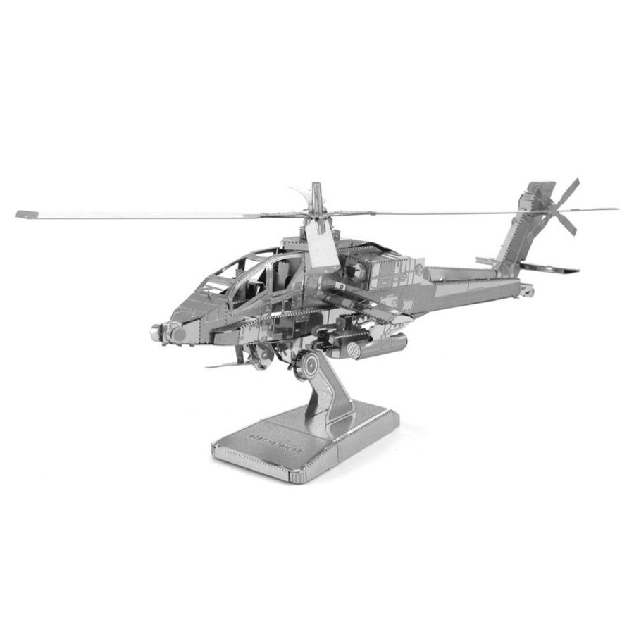 Apache Helicopter Metal Earth Model 3D Puzzle Kit Mens Gadget Gift Nano
