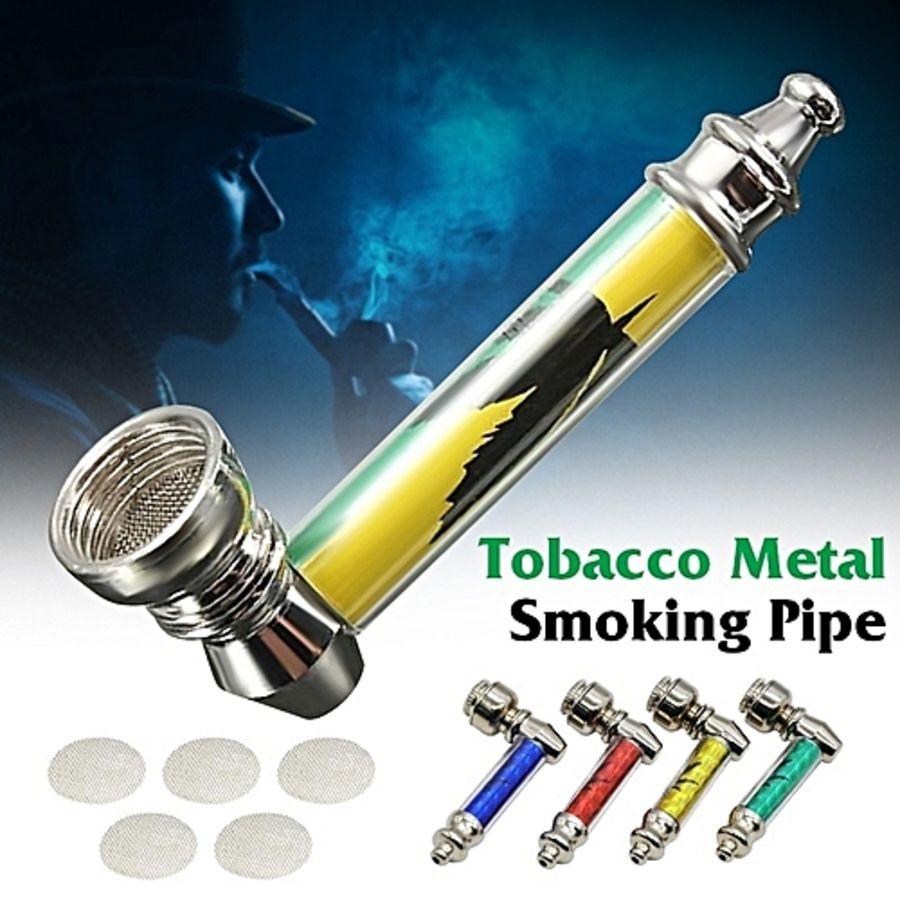 METAL SMOKE TOBACCO PIPE SMOKING WEED LONG CLASSIC
