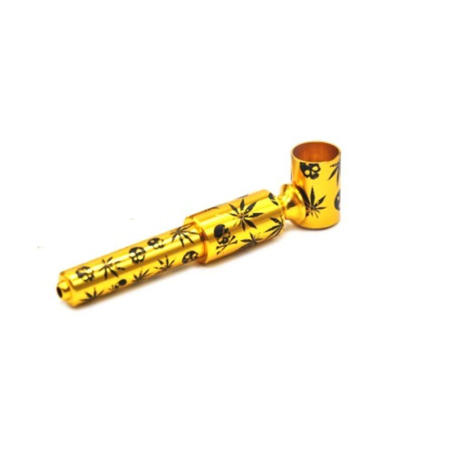 METAL GOLD LEAF SMOKE TOBACCO PIPE SMOKING WEED
