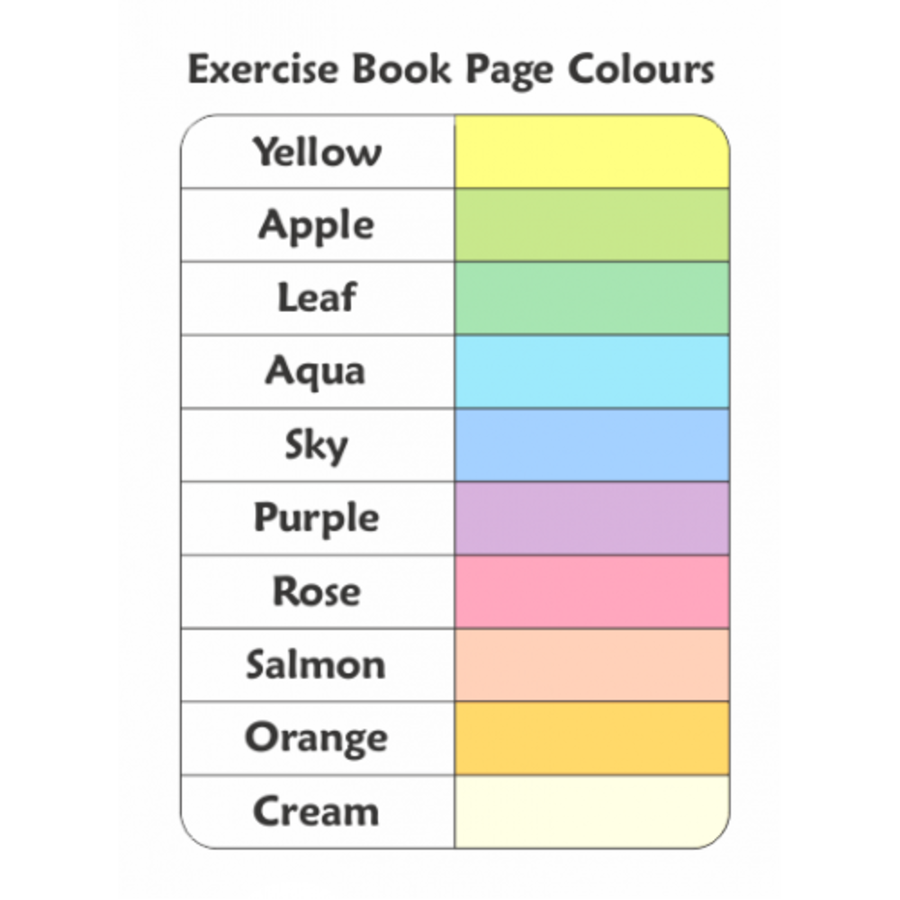 Standard Exercise Books with Coloured Pages