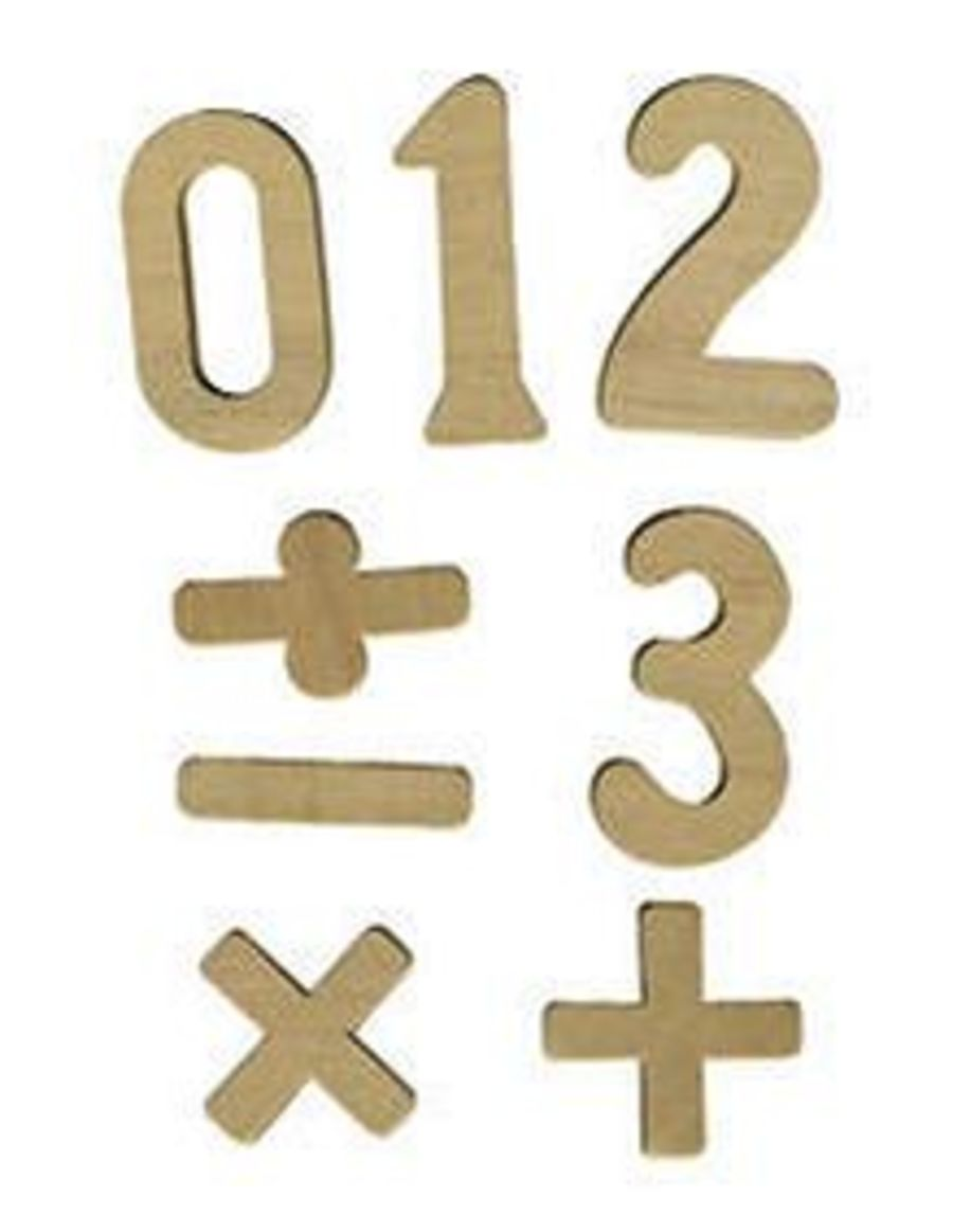 Wooden Numbers and Symbols, pack of 42, 0-20