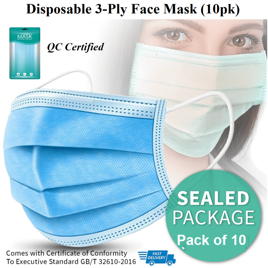 10 Disposable 3-Ply Face Masks