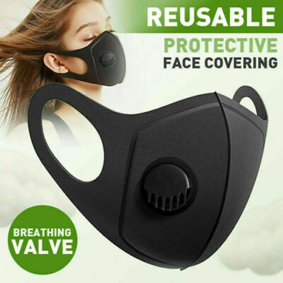 Black Face Mask with Valve