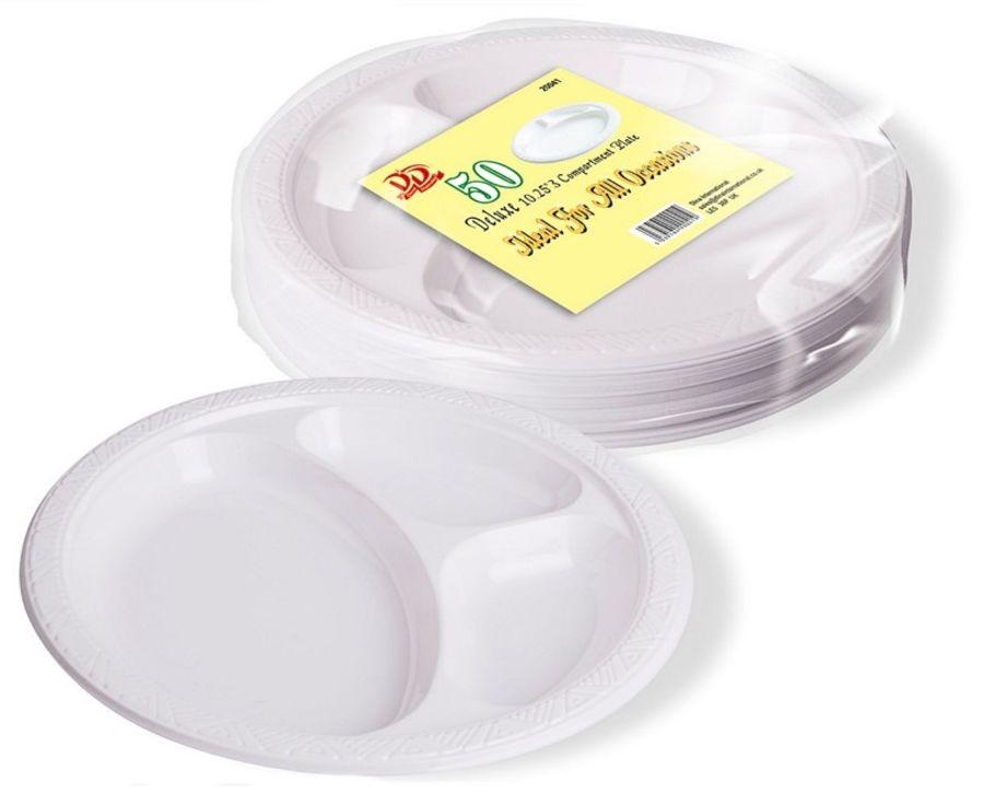 3 Compt Round Plates - 50pc