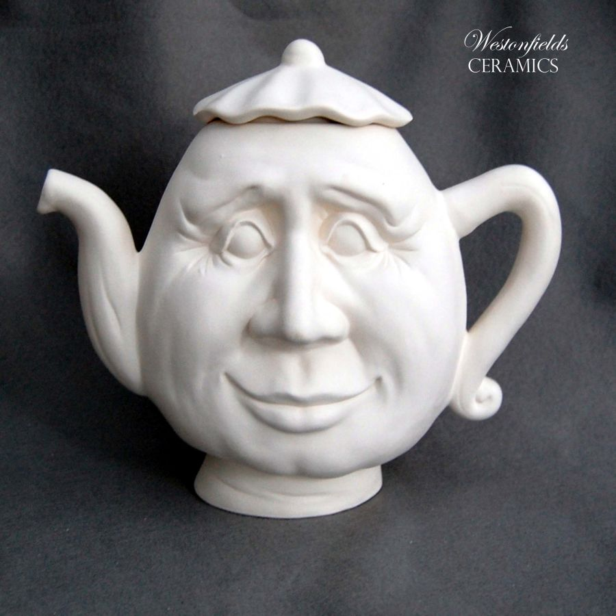 Ceramic Pottery Bisque Biscuit Ware Ready To Paint a Pot Your Own DIY Face Teapot