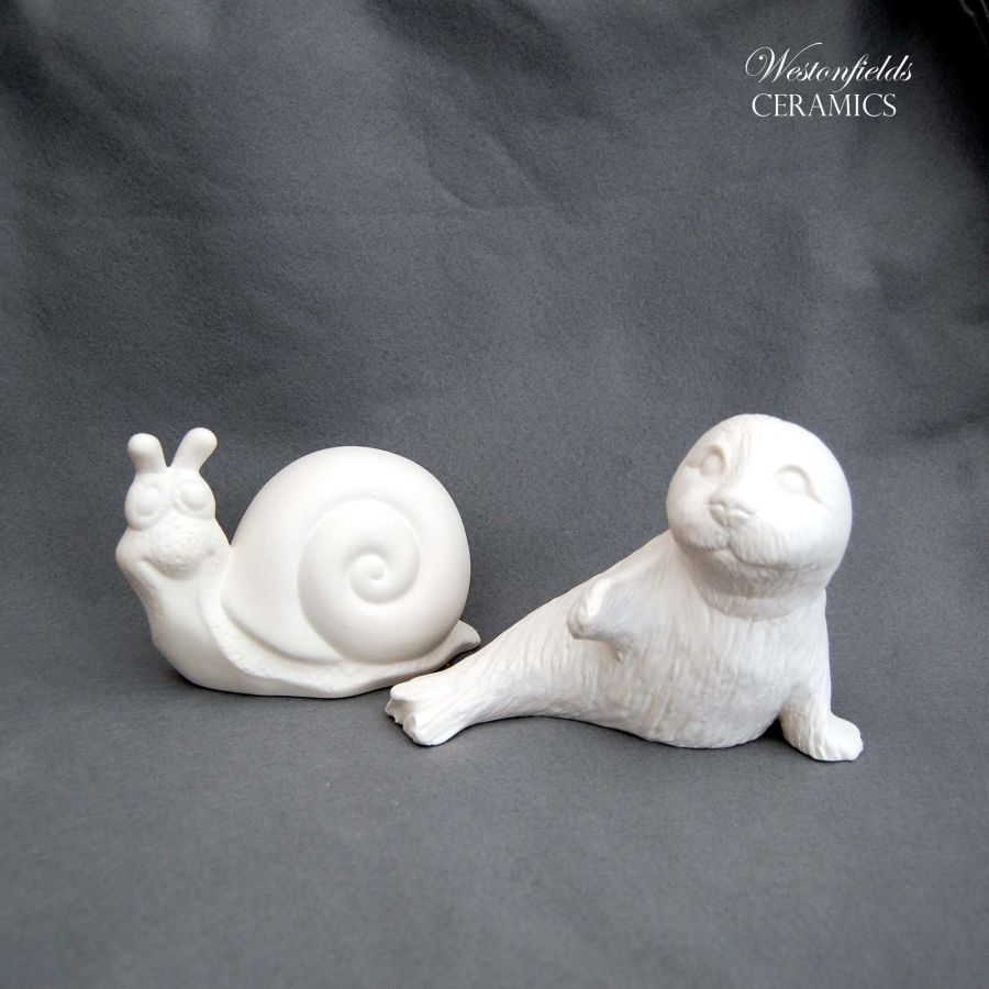 Ceramic Pottery Bisque Biscuit Ware Pack Ready To Paint a Pot Your Own DIY Snail and Seal Pup