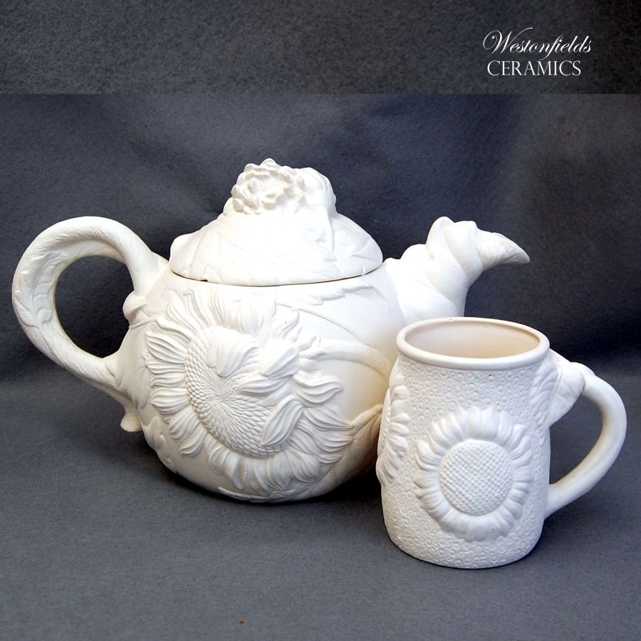 Ceramic Pottery Bisque Biscuit Ware Ready To Paint a Pot Your Own DIY Sunflower Teapot and Mug