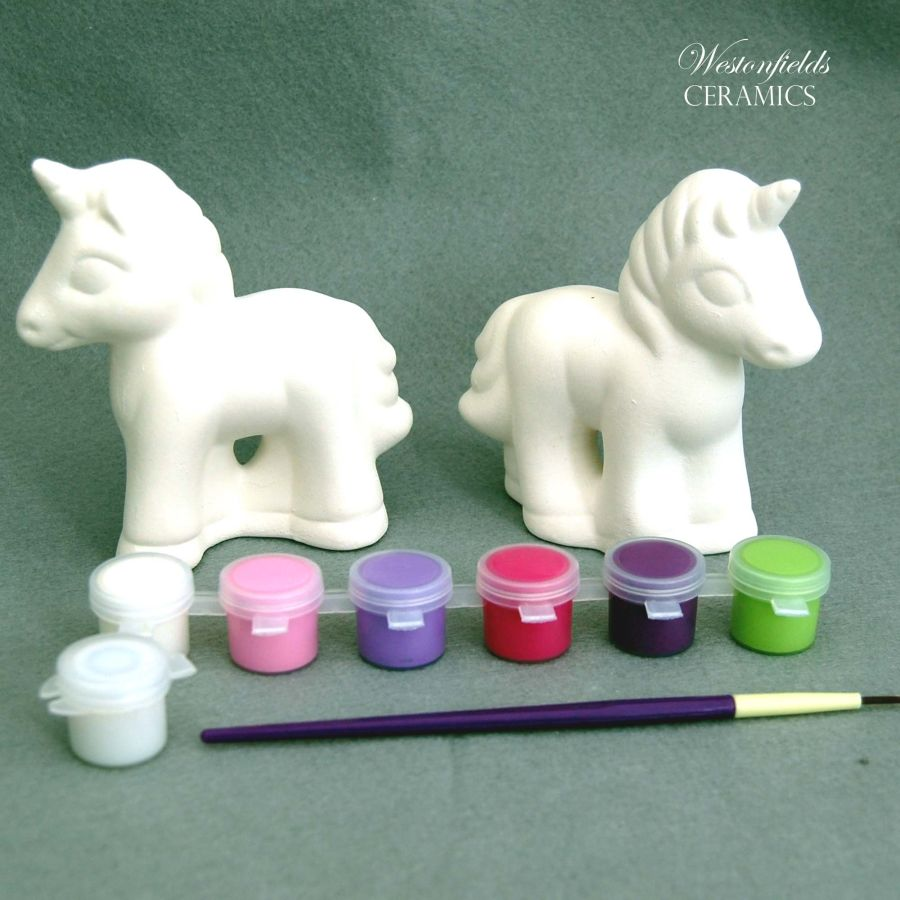 Ceramic Pottery Bisque Ware Ready To Paint A Pot Your Own Set Kit 2 Unicorns and Paint