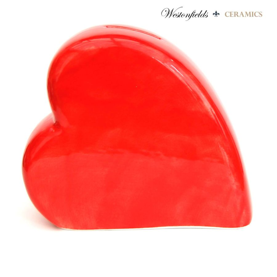 Ceramic Heart Money Savings Pot Box Bank Hand Glazed Red Sprinkle