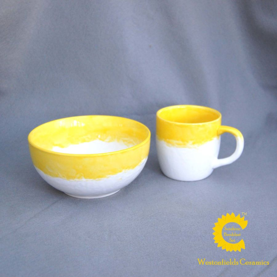 Ceramic Sunshine Breakfast Cereal Bowl and Mug