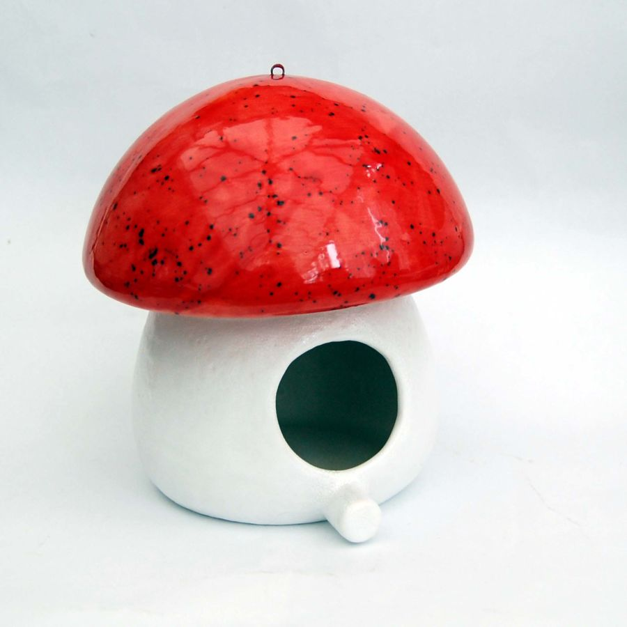 Ceramic Bird Feeder Mushroom Shape Hand Glazed Red Sprinkle White With Chain
