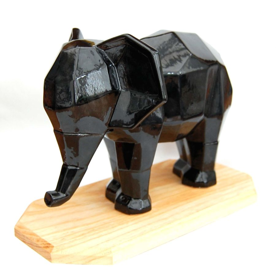 Ceramic Black Elephant Sculpture Faceted Design on Solid Hardwood Stand Hand Glazed