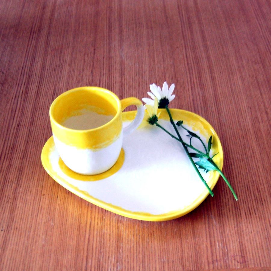 Ceramic Cake and Cuppa Plate and Mug Hand Glazed Yellow White Sunshine Collection