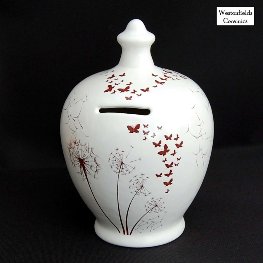 Ceramic Save and Smash Money Savings Pot Box Bank Dandelions and Butterflies Pattern