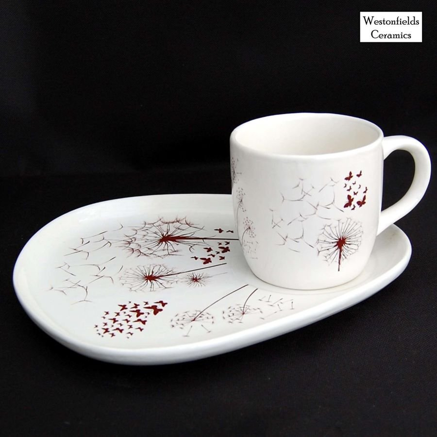 Ceramic Cake and Cuppa Plate and Mug Dandelions and Butterflies Pattern
