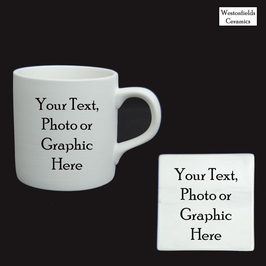 Personalised  Ceramic Mug and Coaster Set Your Photo, Text or Graphic Straight Sided.