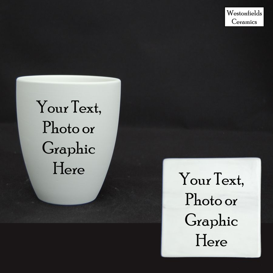 Personalised  Ceramic Beaker and Coaster Set Your Photo, Text or Graphic