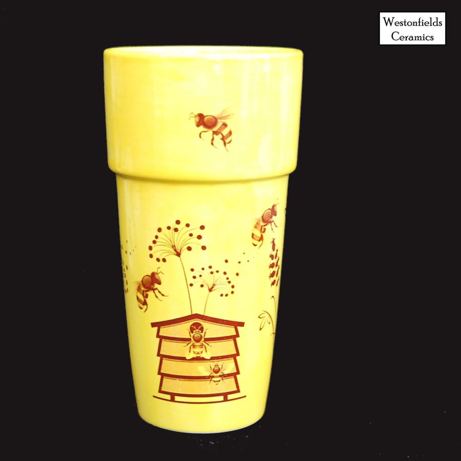 Ceramic Busy Bees Plant Pot Vase Vessel Bees Beehive Wildflowers
