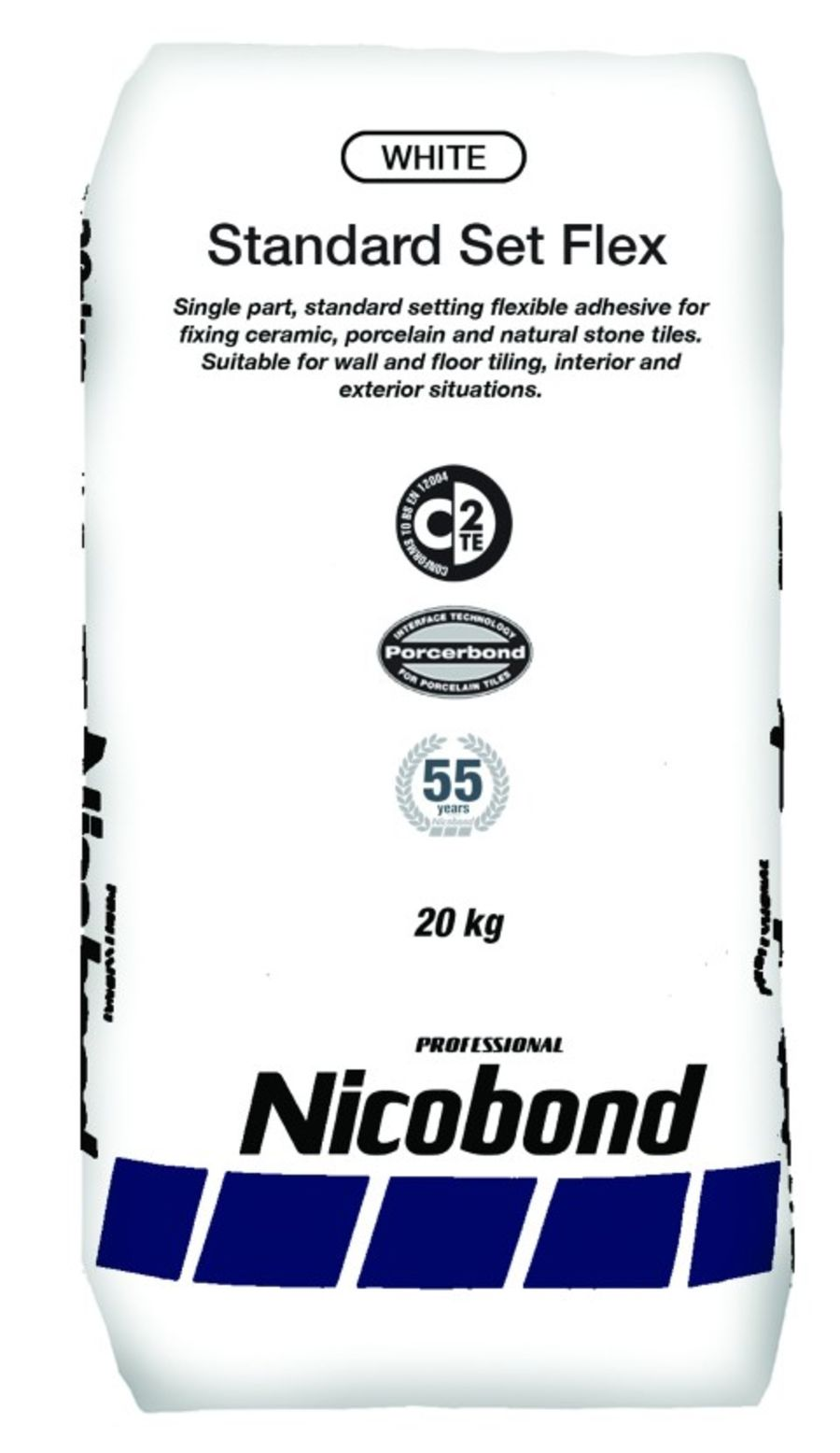 Nicobond Standard Set Flexible Tile Adhesive White 20kg - Pallet Quantity (50 bags)