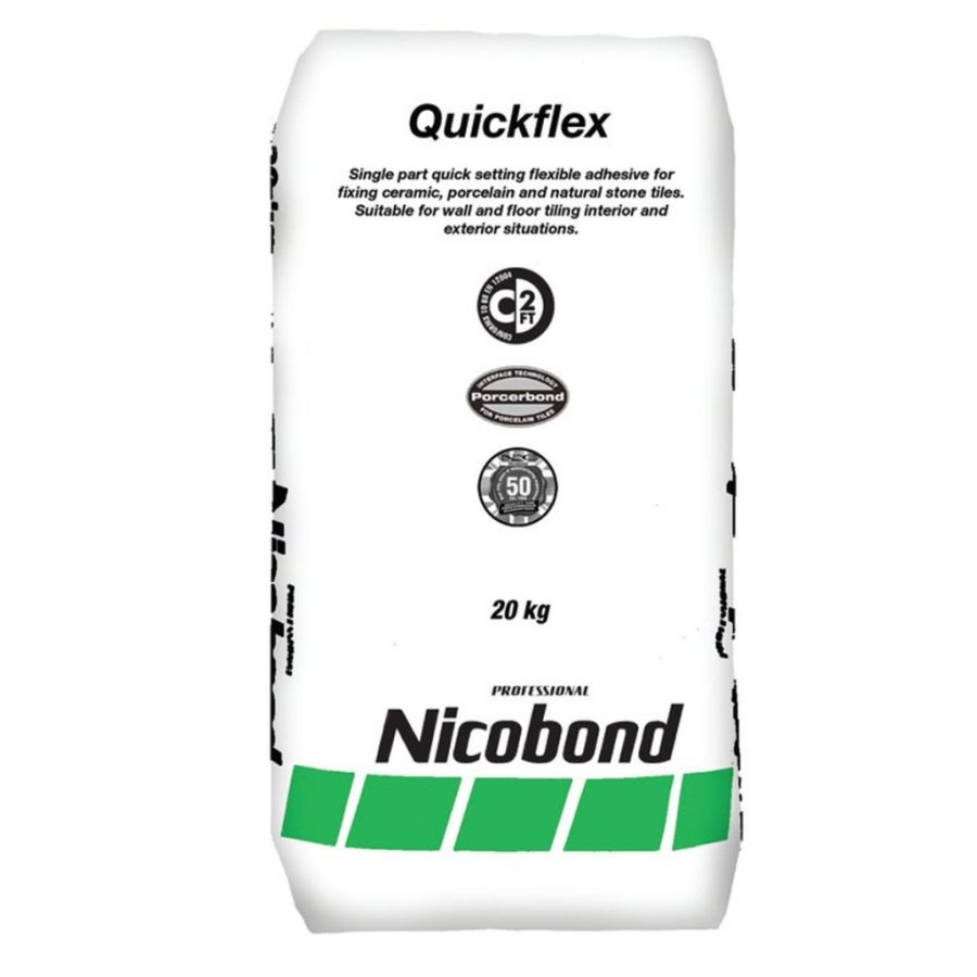 Nicobond Rapid Quick Set Flexible Tile Adhesive White 20kg - Pallet Quantity (50 bags)