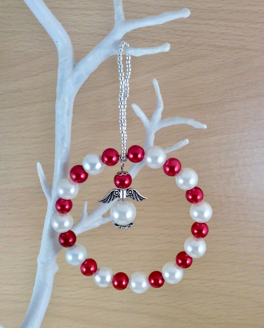 Red and White Christmas angel tree decoration, Festive tree bauble decor