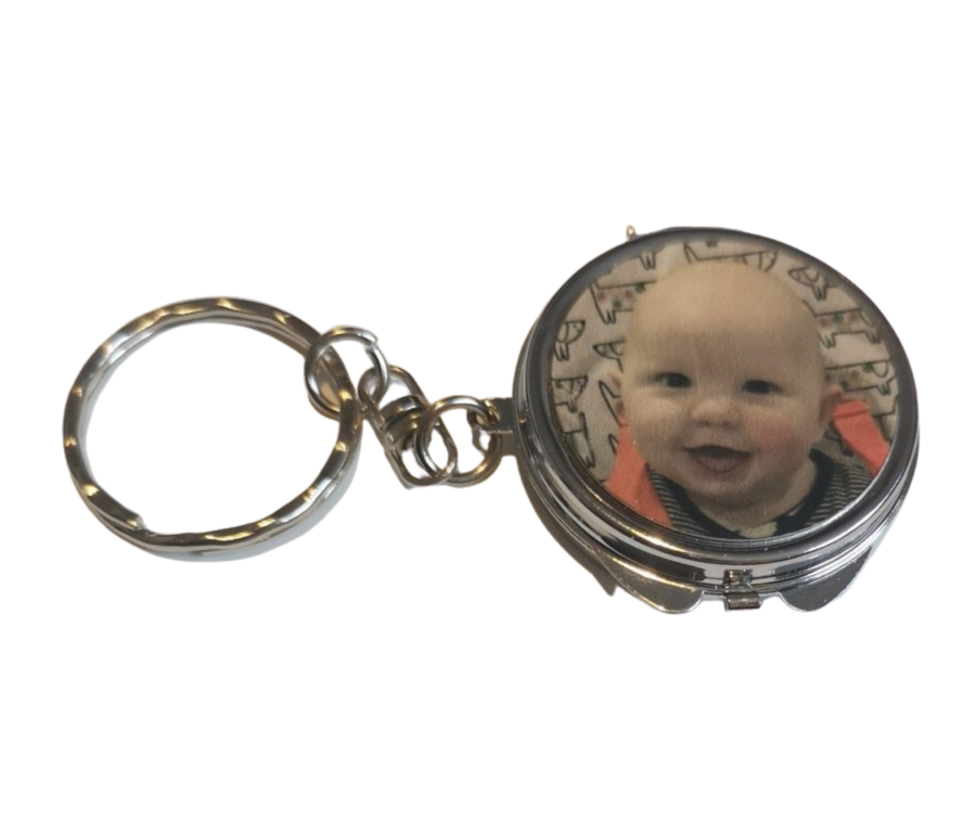 Mini mirror compact keyring with photo on both sides
