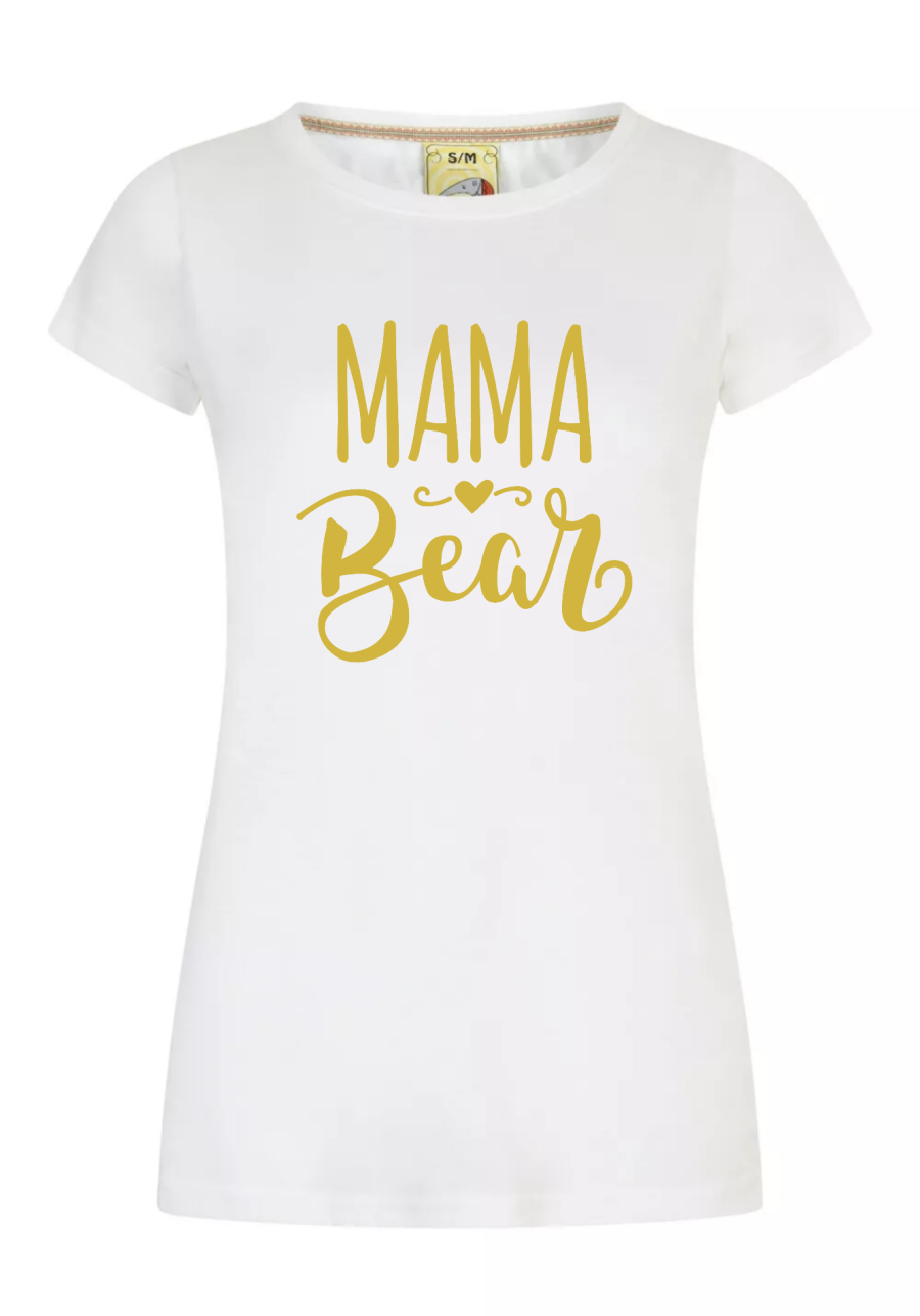 Mama Bear White and Gold Womens t shirt Mothers day Gift