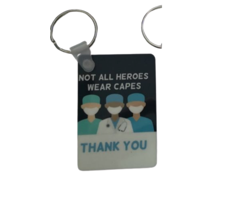 Not all heroes wear capes Thank you Keyring keychain 4cm x 6cm