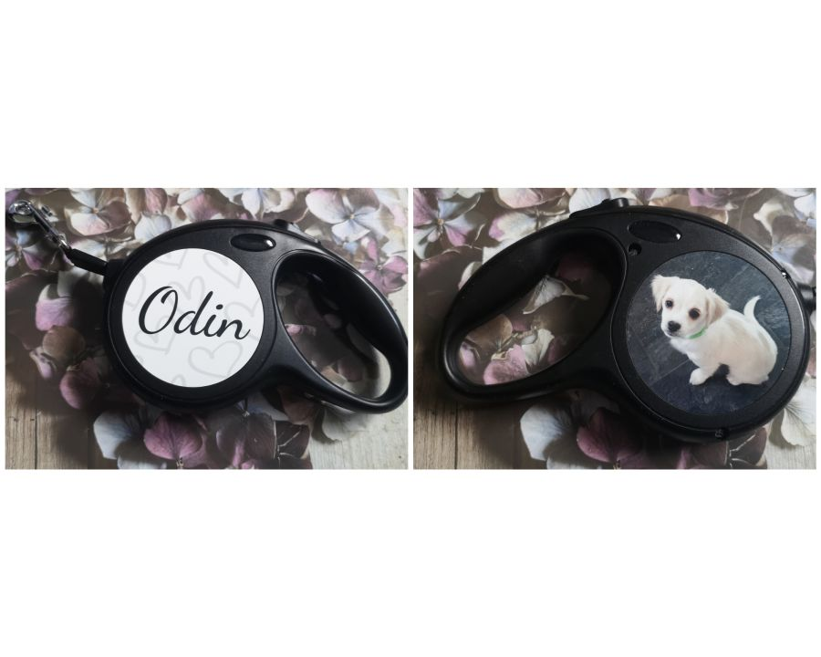 Personalised small dog retractable lead for photo and name