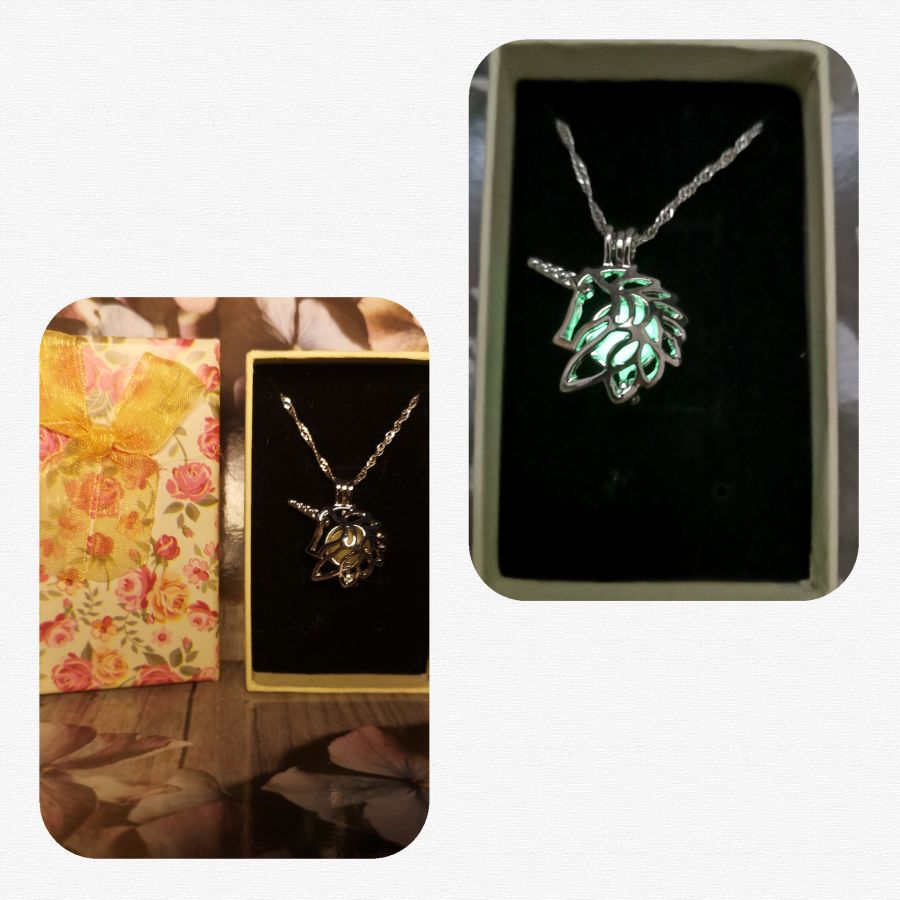 Glow in the dark unicorn pendant and chain gift boxed