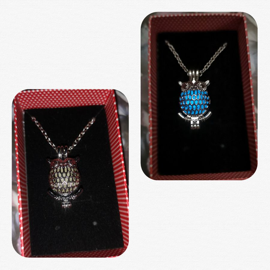 Glow in the dark Owl pendant and chain gift boxed