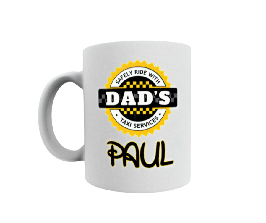 Personalised Fathers day 11oz mug safely ride with dads taxi services