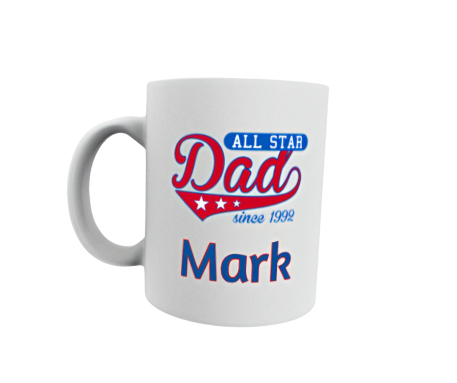Personalised Fathers day 11oz mug All star Dad Established