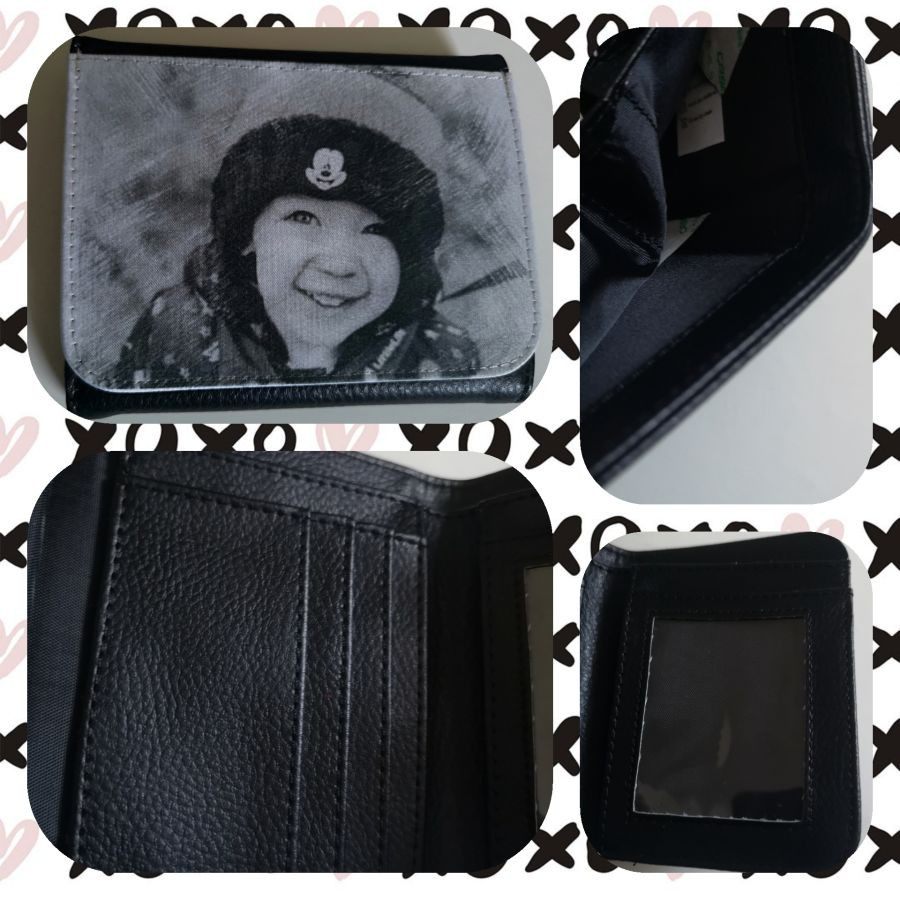Mens Personalised photo wallet pu leather 9.5 cm x 12 cm when closed