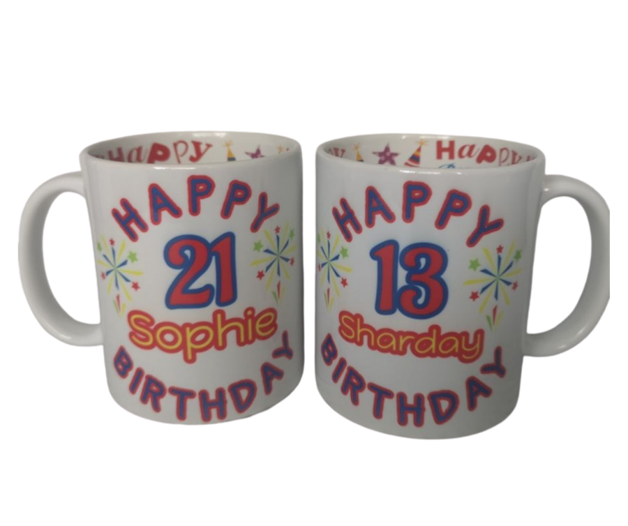 Personalised Happy Birthday Mug with name and age