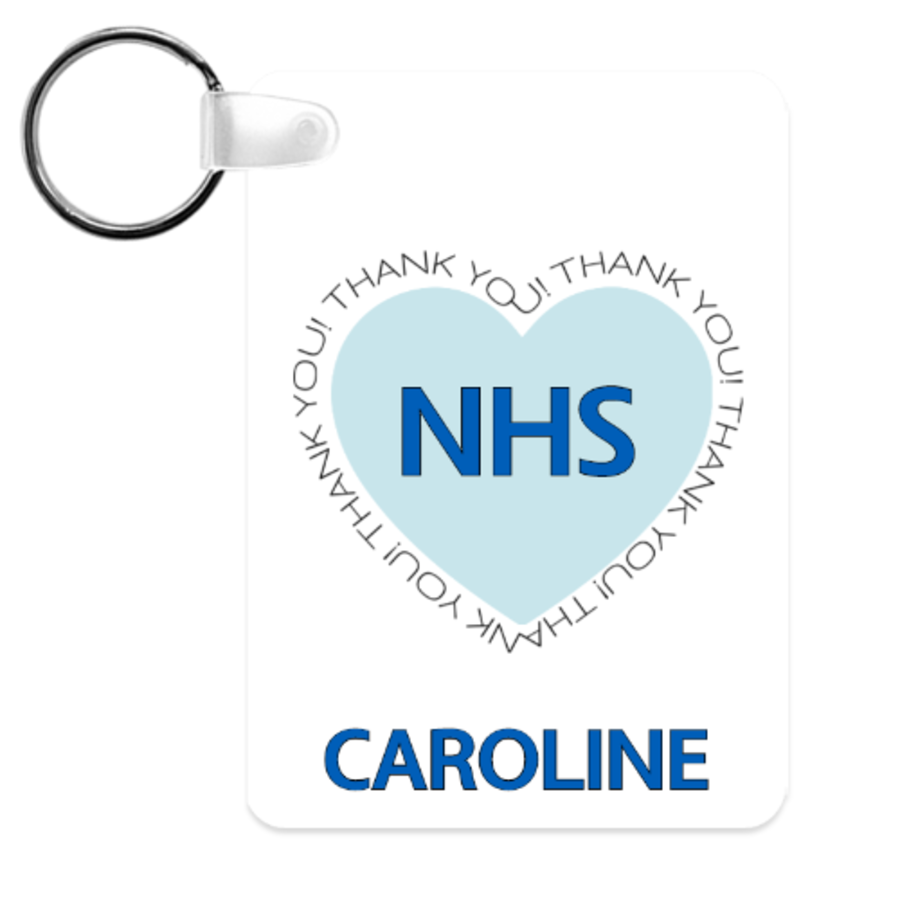 Thank you NHS 6cm x 4cm Personalised key ring